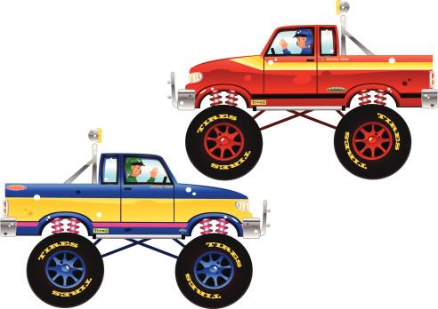 Monster trucks and drivers