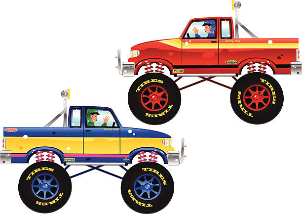 Monster trucks and drivers Two isolated and different monster trucks - one red colour scheme, the other blue/yellow and pink, ready to add your own message and adverts to. Plenty of copyspace down the sides. I have many other different types of side-profile vehicle vectors in my portfolio as well... indy racing league indycar series stock illustrations