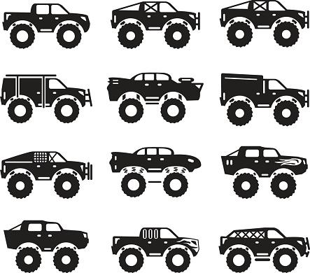 Monster trucks vector set