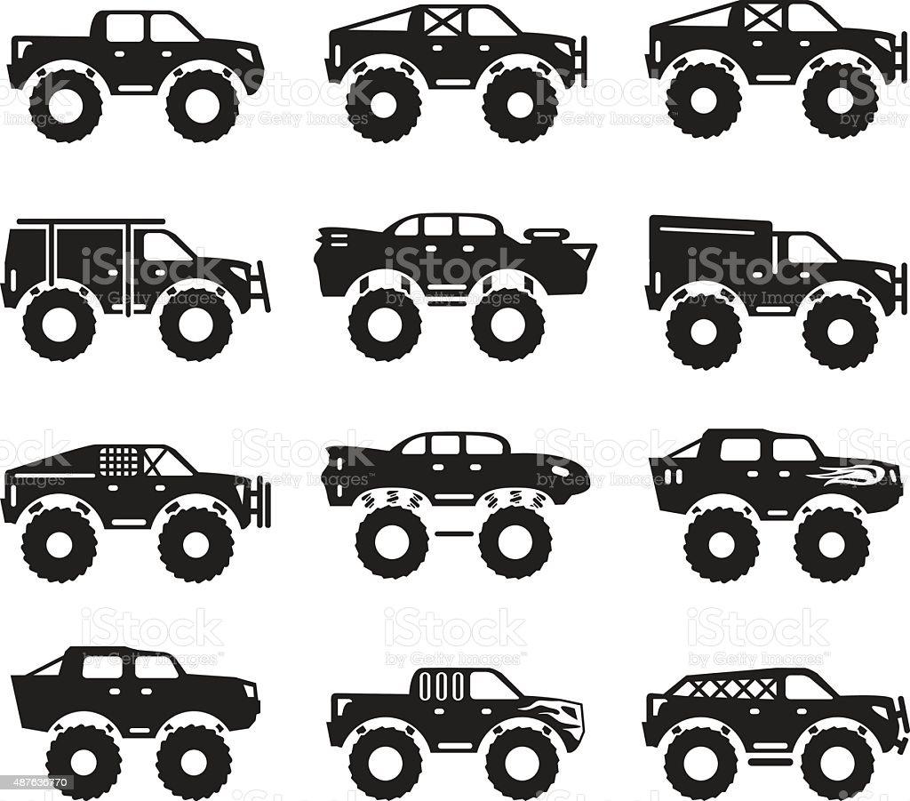 Monster trucks vector set vector art illustration