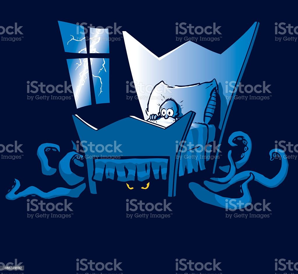 Monster Under the Bed vector art illustration