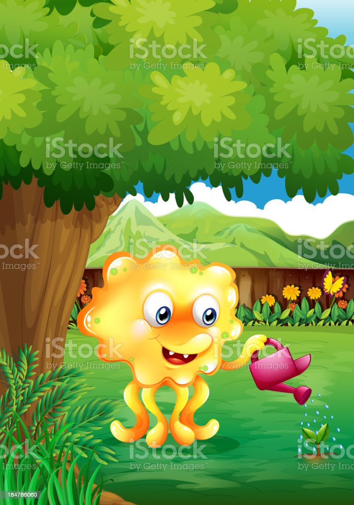 monster watering the plants royalty-free stock vector art