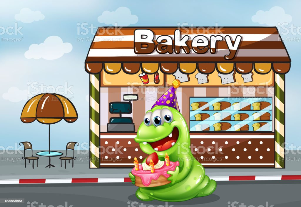 monster with a cake near the bakery royalty-free stock vector art