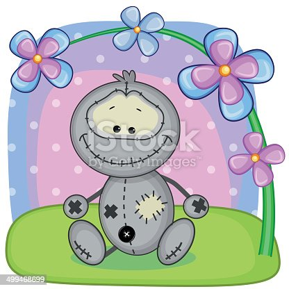 Cute cartoon Monster with flowers