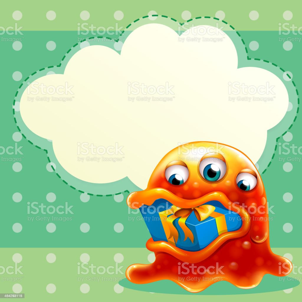 monster with gift inside  mouth and empty cloud template royalty-free monster with gift inside mouth and empty cloud template stock vector art & more images of alien