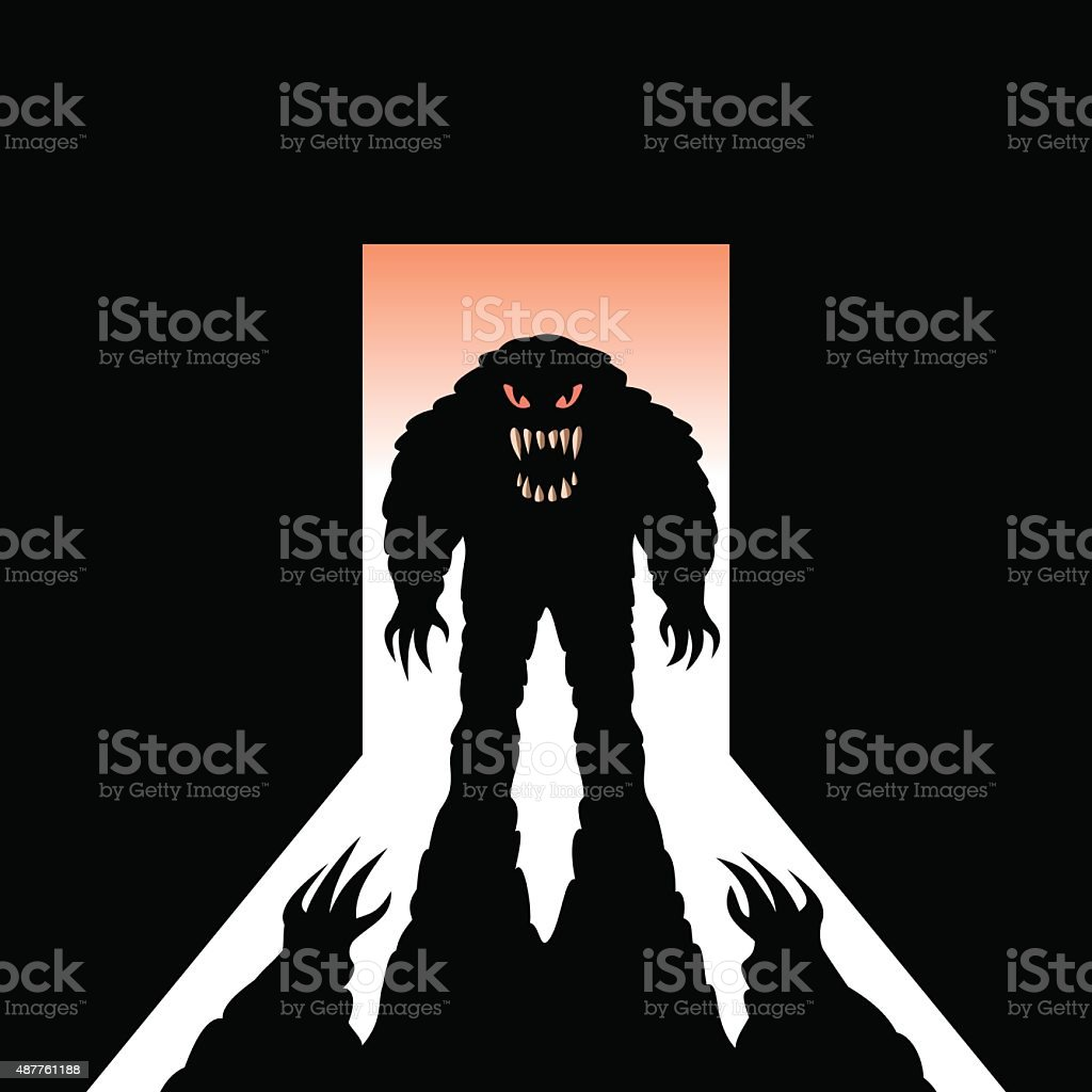 Monster with shadow in the open door vector art illustration