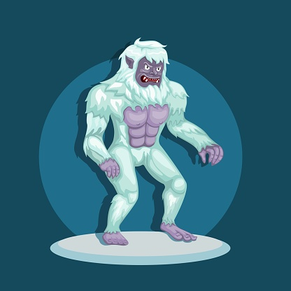 monster yeti aka bigfoot in snow. mythological creature character concept in cartoon illustration vector