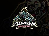 zombie sport logo design. Undead mascot vector illustration logo. Monster zombie mascot design, Emblem design for esports team. Vector illustration