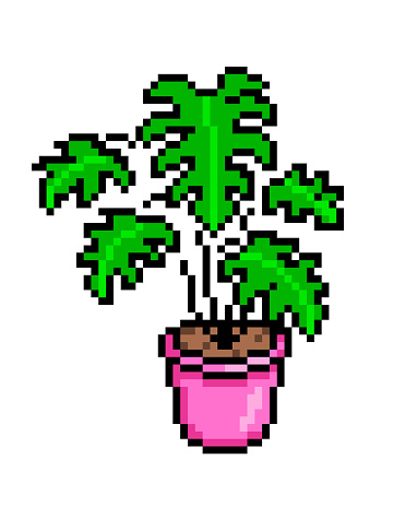 Monstera in a pink pot, pixel art icon isolated on white background. 8 bit decorative exotic houseplant. Home/office interior design element. Old school vintage retro slot machine/video game graphics.