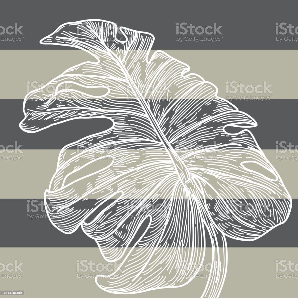 Monstera Leaf - Nautical Stripes vector art illustration