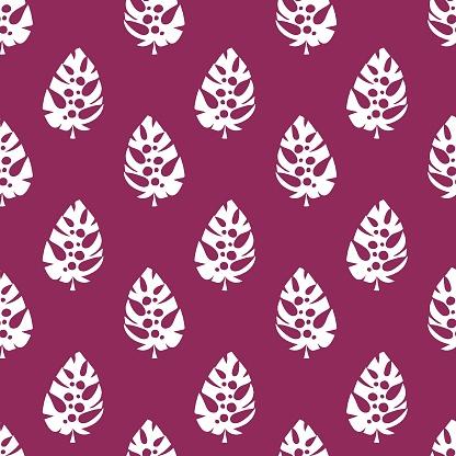Monstera leaves monochrome seamless pattern vector