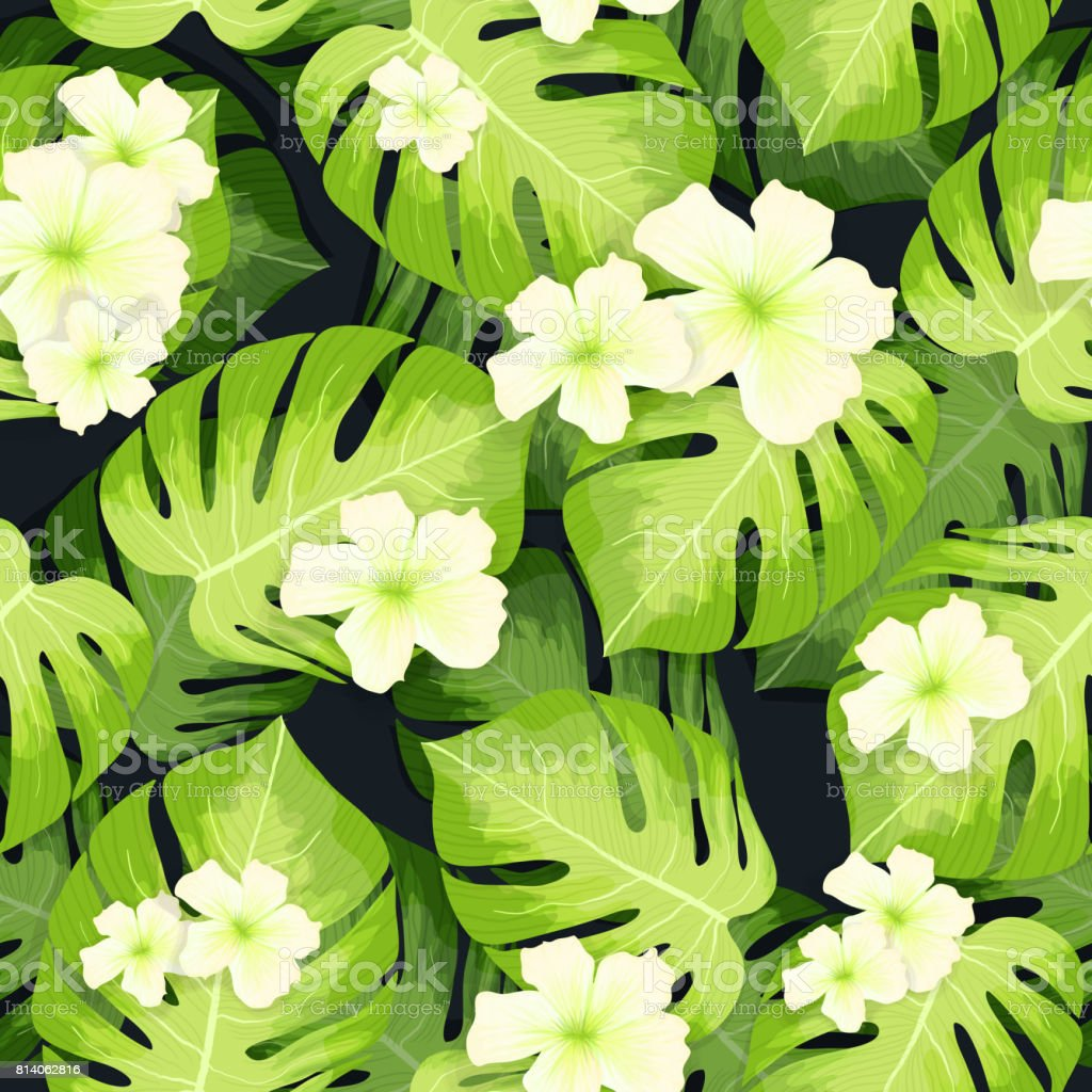 Monstera Palm Leaves Pattern And Hibiscus Flowers Stock Vector Art ...