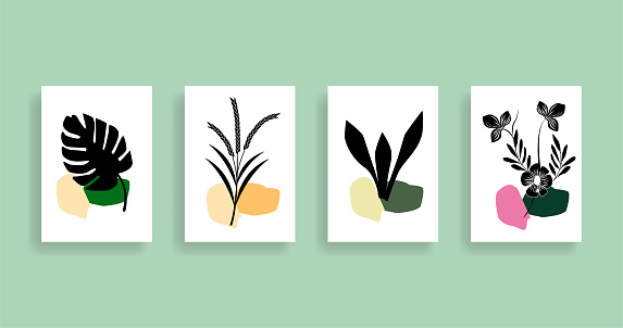 Monstera, wheat, snake and orchid  Plant Art design for wall framed prints, canvas prints, poster, home decor, cover, wallpaper