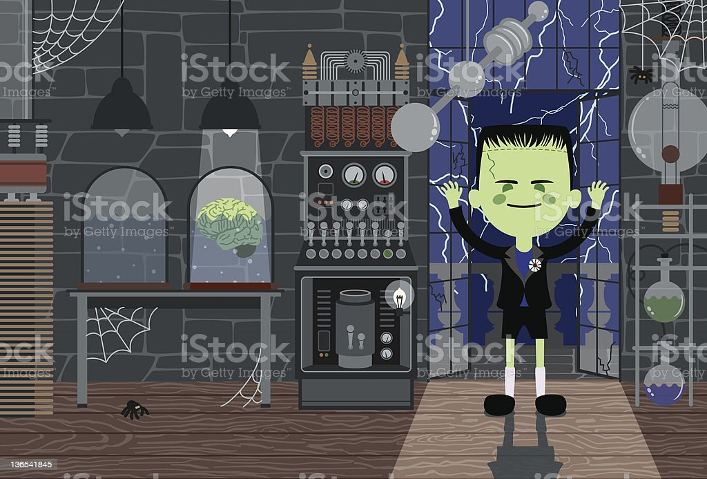 Monster-Boy in Laboratory royalty-free stock vector art