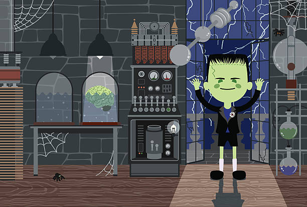 stockillustraties, clipart, cartoons en iconen met monster-boy in laboratory - bloemen storm