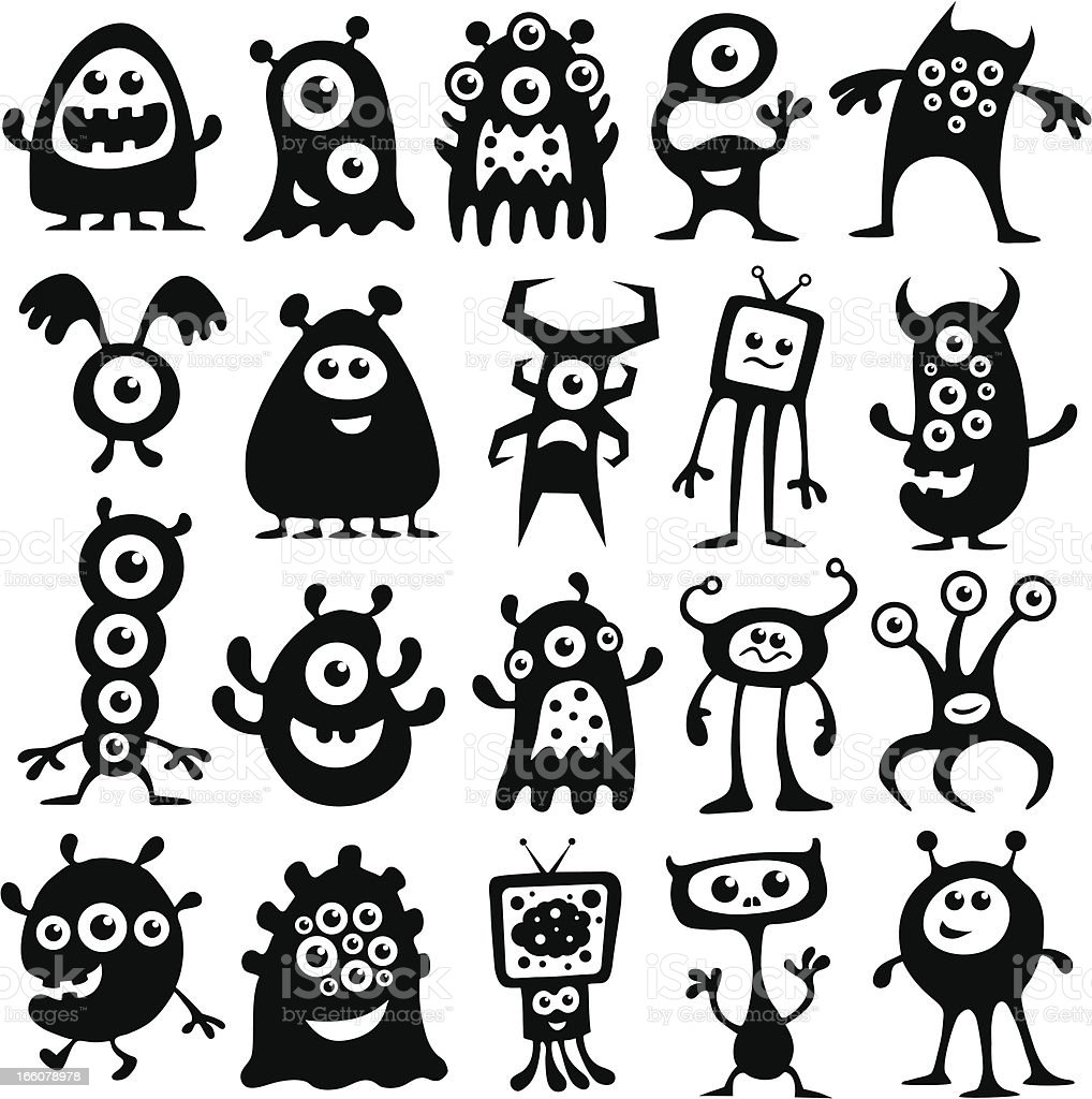 Monsters and Aliens royalty-free stock vector art