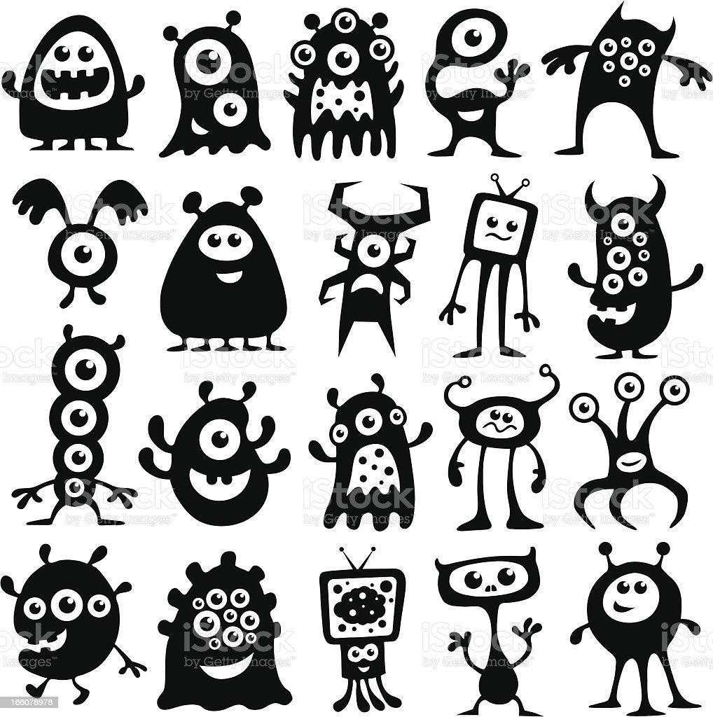 Monstros e alienígenas - ilustração de arte em vetor