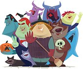 vector illustration of group of monsters and devils cheering for halloween…