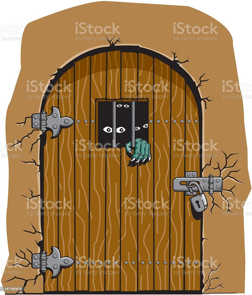 ... Monsters Behind Locked Door vector art illustration ... & Dungeon Door Clip Art Vector Images u0026 Illustrations - iStock pezcame.com