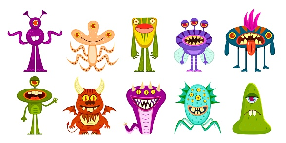 Monsters. Cute goblins and gremlins, scary aliens. Halloween funny trolls cartoon characters vector set