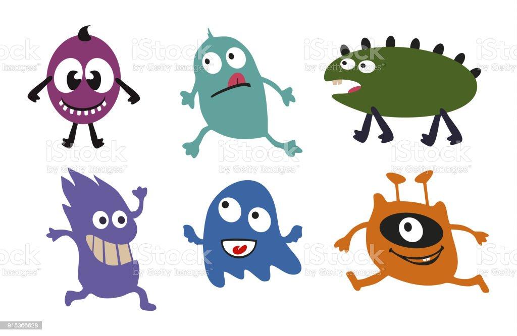 Monstern Lustige Und Gruselige Comicfiguren Keime Bakterien Und ...