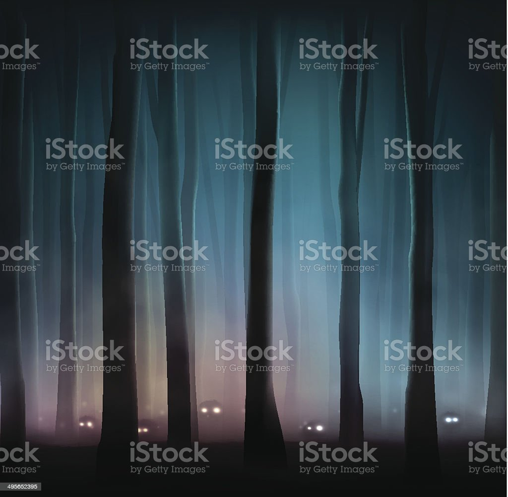 Monsters in forest vector art illustration