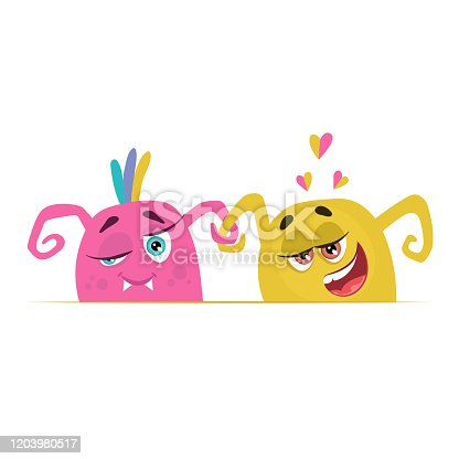 istock Monsters in love. Vector cartoon flat style set of monster's heads with hearts. Valentine's day greeting card characters. Children's collection. 1203980517