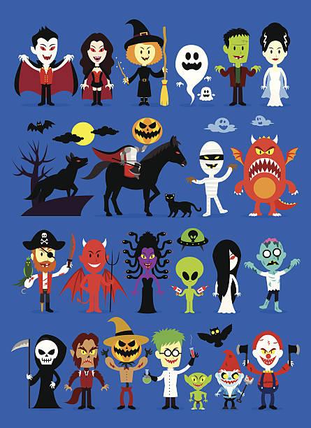 monsters zacieru halloween znaków - puree stock illustrations