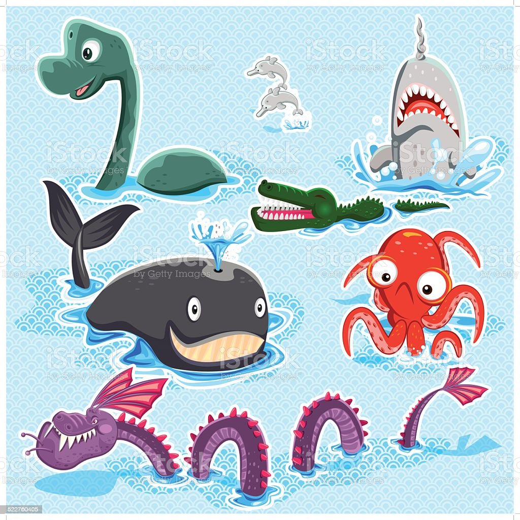 Monsters Of The Deep Blue Sea Collection Set vector art illustration