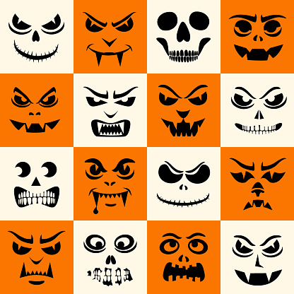 Monsters seamless pattern. Halloween faces silhouettes. Vampires, skeletons, demons stencil. Holiday cartoon characters