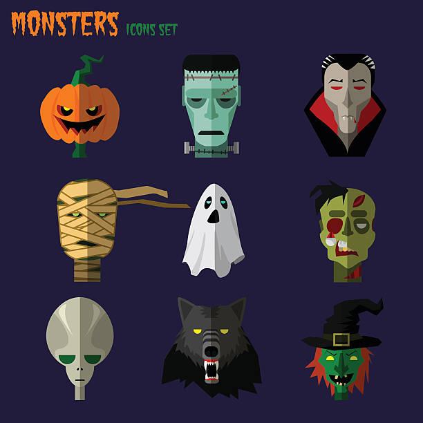 monsters set-icons - frankenstein stock-grafiken, -clipart, -cartoons und -symbole