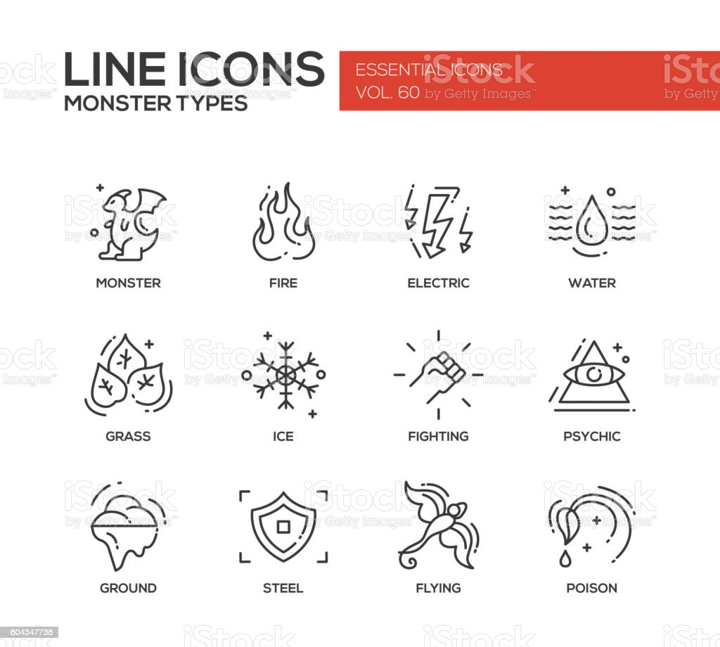 Kinds Of Lines In Art And Its Meaning : Monsters types line design icons set stock vector art