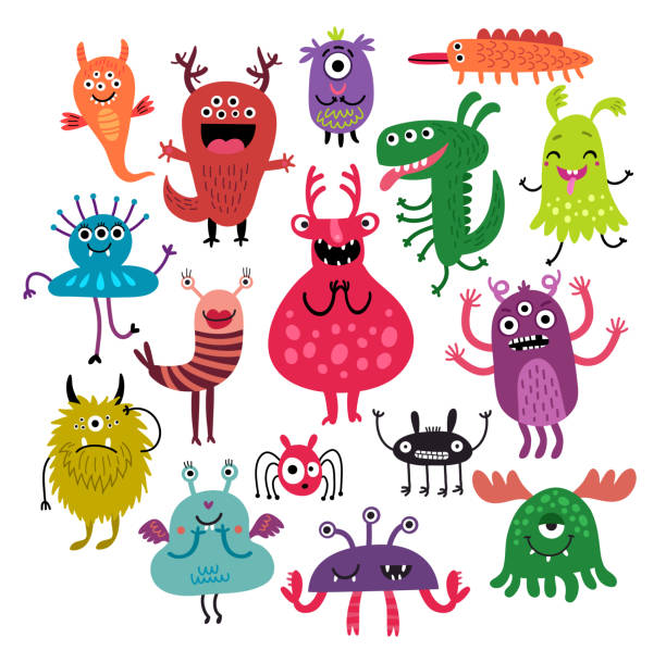 monsters vector set - cartoon monsters stock illustrations, clip art, cartoons, & icons
