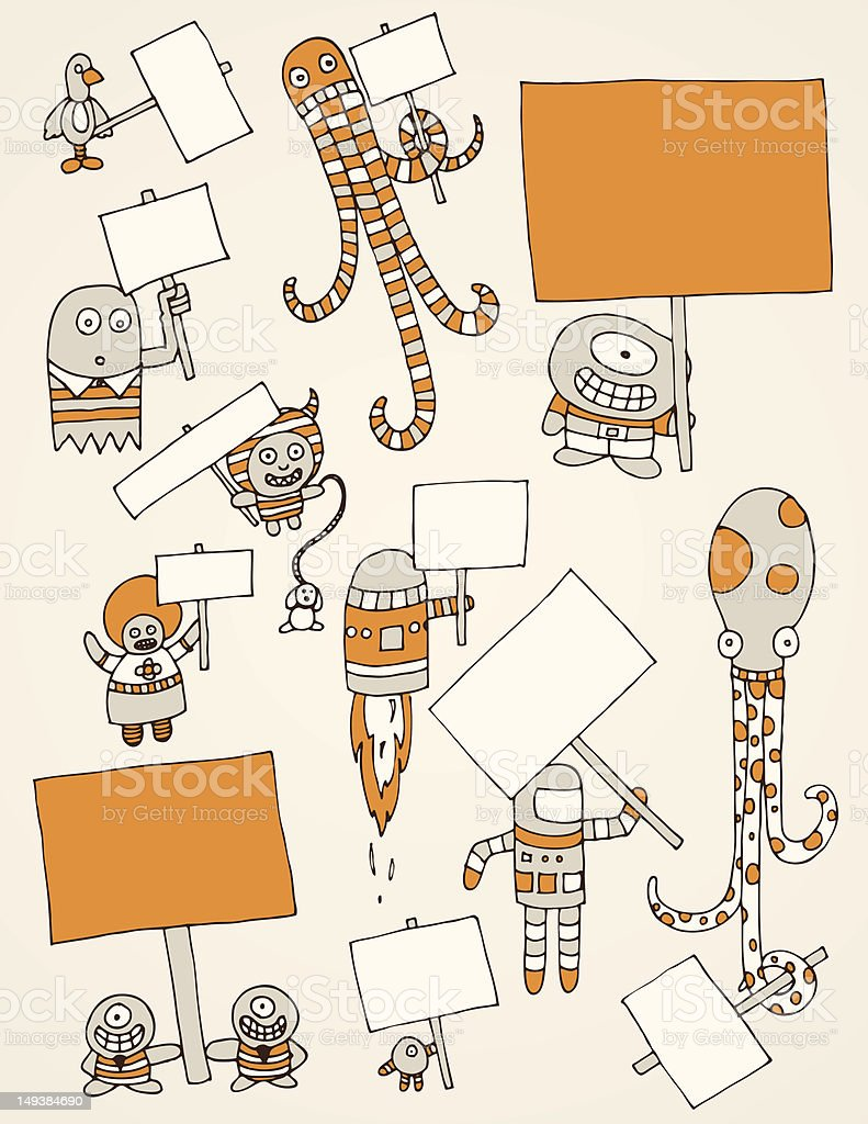 Monsters with Signs royalty-free stock vector art