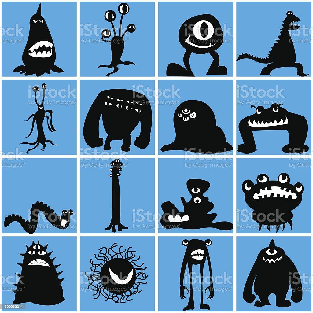 Monsters_siluate vector art illustration