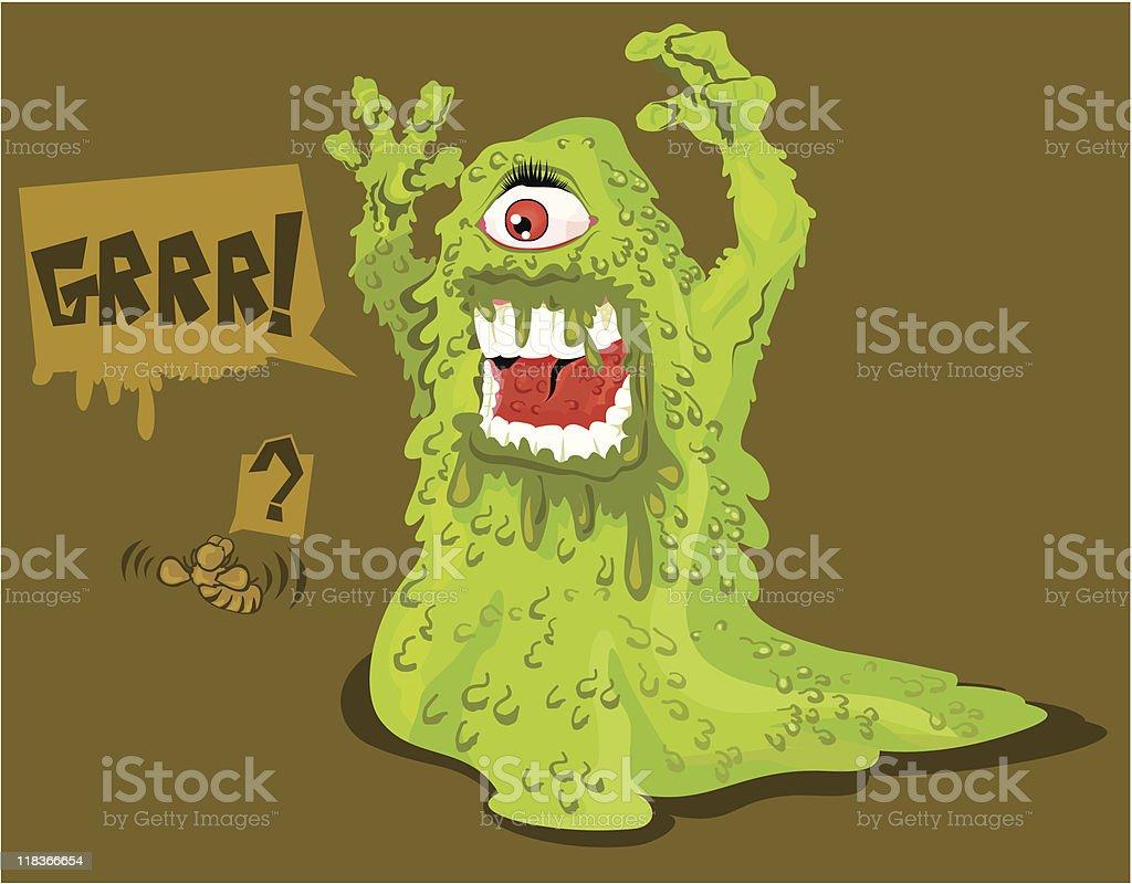 Monstro verde gelatinoso royalty-free stock vector art