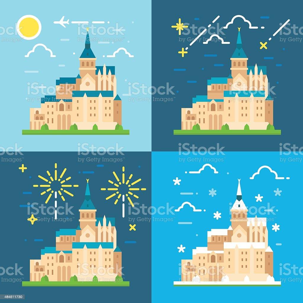 Mont Saint Michel flat design