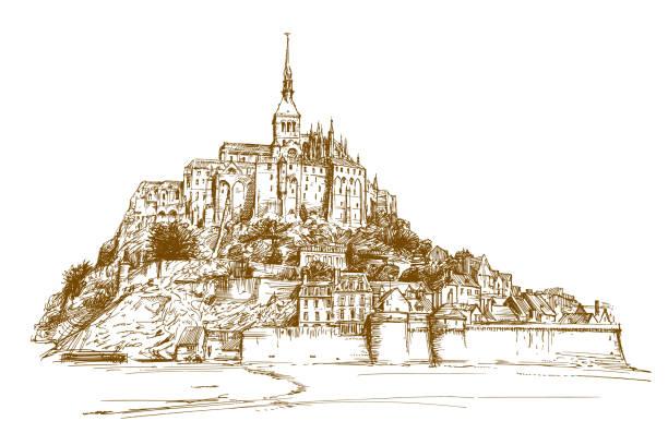illustrations, cliparts, dessins animés et icônes de mont sant michelle, france - bretagne