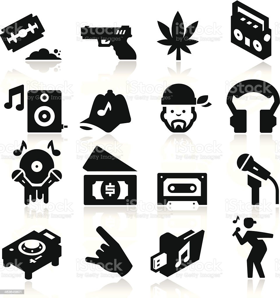 Montage Of Black And White Rap Music Icons Stock Illustration