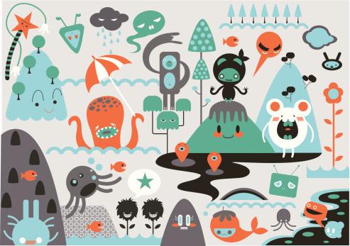 Montage of cute cartoon monsters