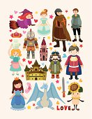 Montage of fairy tale icons on a white background