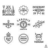 Montage of simple vintage labels