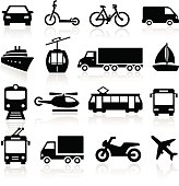Collection of icons representing transportation and travel.
