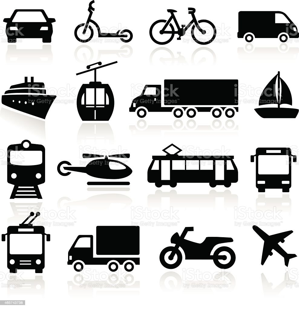 Montage of transport icons including planes cars and boats vector art illustration