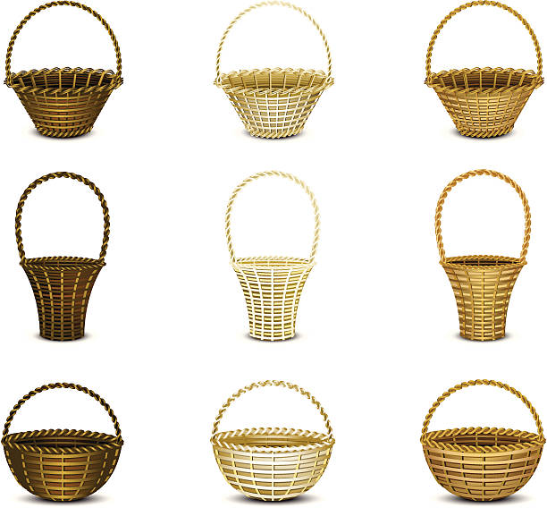 Montage of wicker baskets with a white background vector art illustration