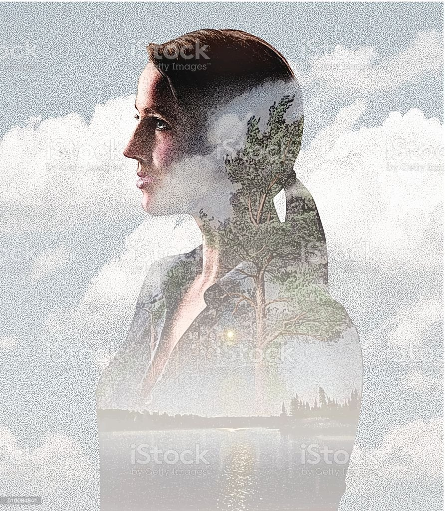 Montage of Woman, Clouds and Nature vector art illustration