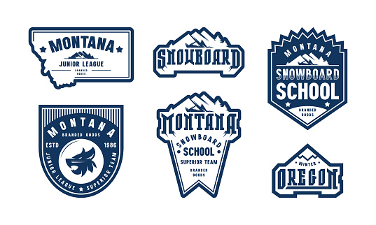 Montana and Oregon snowboarding emblem set