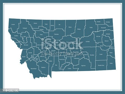 Downloadable county map of Montana state of United States of America. The map is accurately prepared by a map expert.