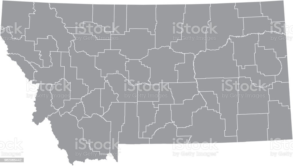 Montana County Map Vector Outline Gray Background Map Of Montana ...