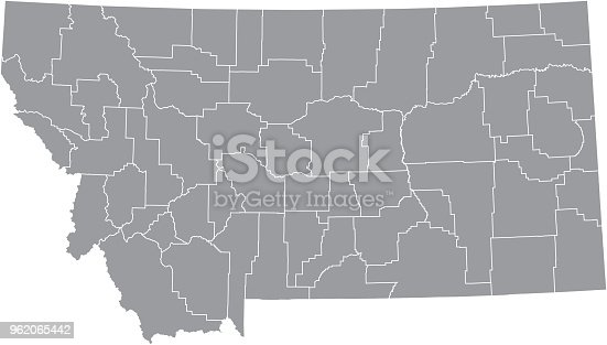 Montana county map vector outline gray background. Map of Montana state of United States of America with counties borders